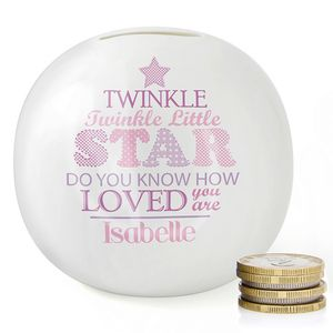 Twinkle Twinkle Baby Girl Personalised China Money Box - children's room accessories