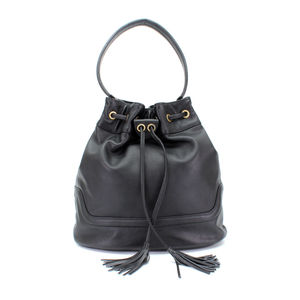 Black Leather Duffle Handbag Tote