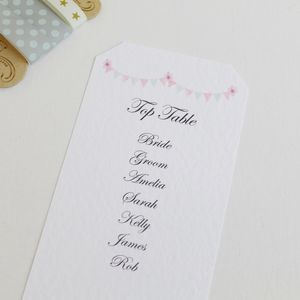 Personalised Bunting Wedding Table Plans - place cards