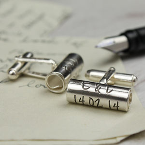 Personalised Handwritten Scroll Cufflinks - anniversary gifts