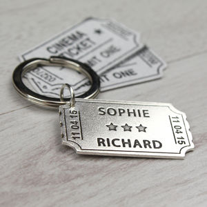 Personalised Sterling Silver Ticket Keyring