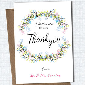Personalised Floral Thank You Card - thank you cards