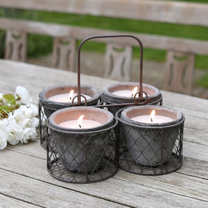 Citronella Candle Pot Set In Metal Carrier - lights & lanterns