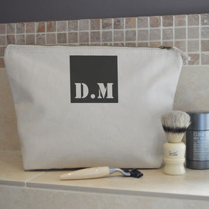 Personalised Initial Mens Wash Bag