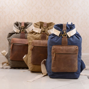 Canvas And Leather Front Pocket Backpack