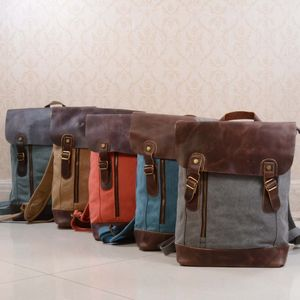 Canvas And Leather Zip Detail Backpack - backpacks