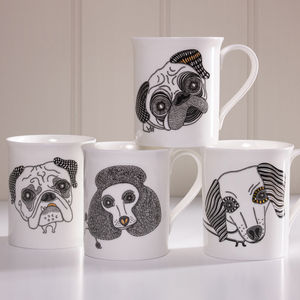 Set Of Four Mugs: Bulldog, Poodle, Dachshund And Pug