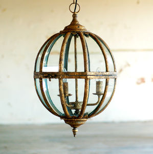 Italian Gold Globe Ceiling Pendant Light Chandelier