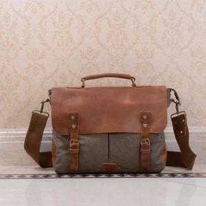 Canvas And Leather Messenger Bag Gift For Him - mens