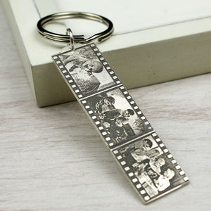 Personalised Sterling Silver Photo Filmstrip Keyring - keyrings