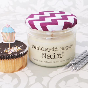 Personalised Welsh 'Penblwydd Hapus' Birthday Candle - candles & candle holders