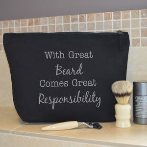 'With great beard comes great responsibility' Wash Bag