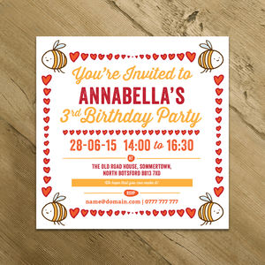 Personalised Bumble Bee Hearts Party Invitations