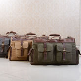 Canvas And Leather Military Style Holdall Bag - summer shop
