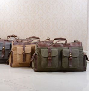 Canvas And Leather Military Style Holdall Bag - men's accessories