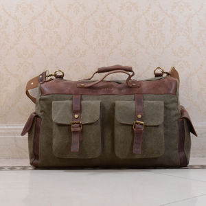 Canvas And Leather Military Style Holdall Bag - holdalls & weekend bags