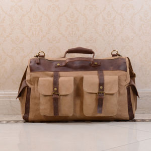 Canvas And Leather Military Style Holdall Bag