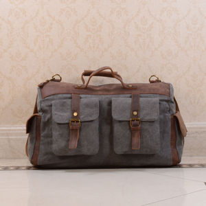 Canvas And Leather Military Style Holdall Bag - mens