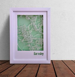 Barnsley Map Cut Out Street Map