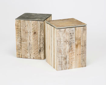 Reclaimed Timber And Natural Slate Stool