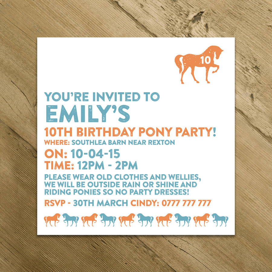 horse and pony party invitations by a is for alphabet ...