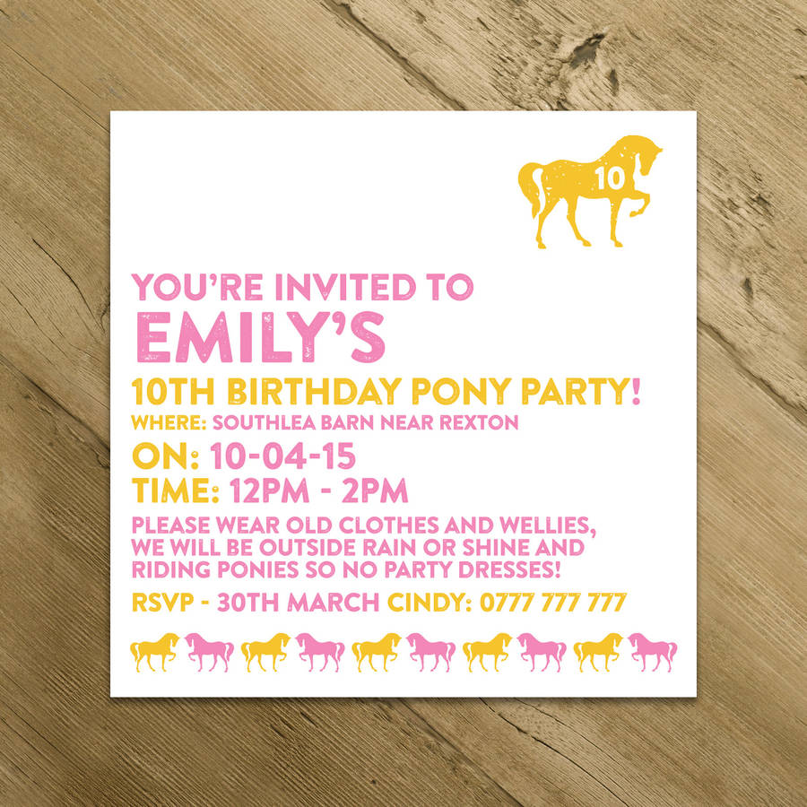 horse and pony party invitations by a is for alphabet, Party invitations