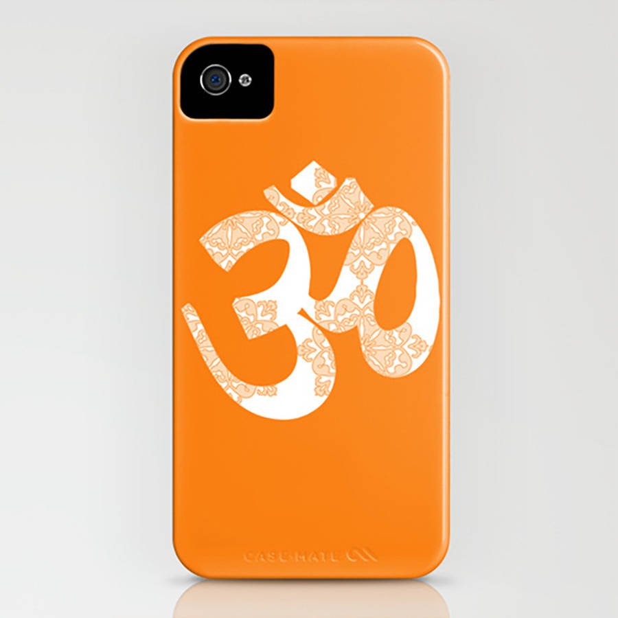 Start Your Day With Om On Orange Phone Case