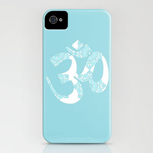 Start Your Day With Om On Blue Phone Case