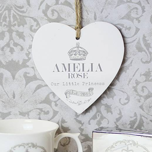 Royal Baby Personalised Wooden Heart Gift