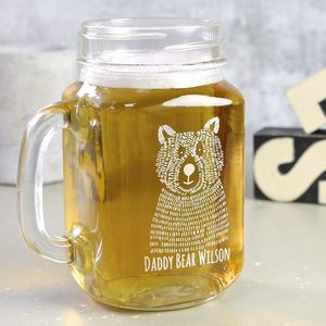 Personalised Bear Family Engraved Mason Jar