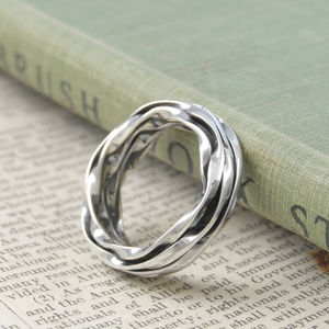 Chunky Men's Silver Oxidised Wrap Ring - rings