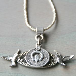 Silver Bird Antique Coin Necklace