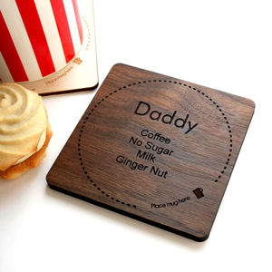 Personalised Tea Or Coffee Wooden Coaster - valentine's gifts for him