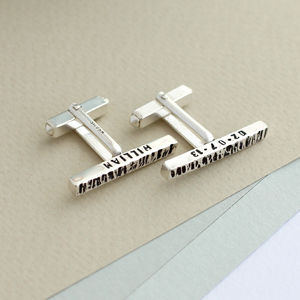 Personalised Texture Bar Cufflinks - gifts for him