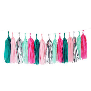 Teal And Pink Glitter Tassel Garland Kit - room decorations