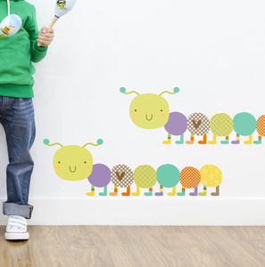 Happy Caterpillar Fabric Wall Sticker Pack 03 - decorative accessories