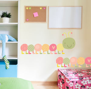 Happy Caterpillar Fabric Wall Sticker Pack 02 - wall stickers