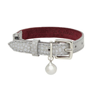 Silver Embossed Leather Cat Collar With Safety Catch