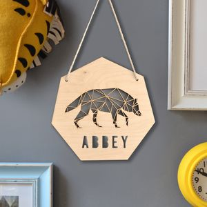 Personalised Geometric Wolf Sign - children's room