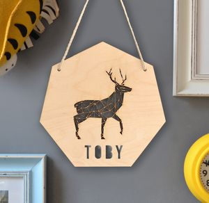Personalised Geometric Stag Sign - door plaques & signs