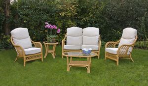 Marbella Three Piece Suite In Cane Special Price - furniture