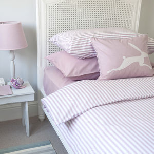 Ticking Stripe Rose Pink Duvet Cover - bedding & accessories