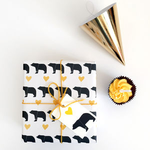Bear And Heart Balloon, Wrapping Paper - wrapping paper