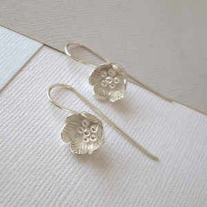 Silver Artisan Flower Earrings - earrings