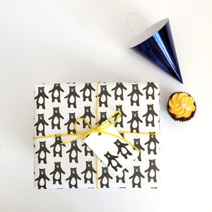 Party Dancing Bear Wrapping Paper And Gift Tags - wrapping