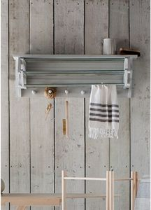 Extending Wooden Clothes Dryer In Chalk White - laundry room