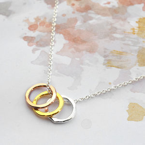 Sterling Silver Eternity Circles Necklace - mixed metals