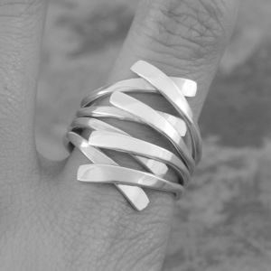 Chunky Sterling Silver 'Embrace' Contemporary Ring - rings