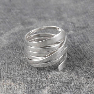 Curly Interwoven Sterling Silver Ring - contemporary jewellery