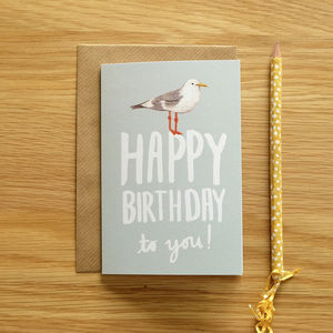 Illustrated Seagull Birthday Card